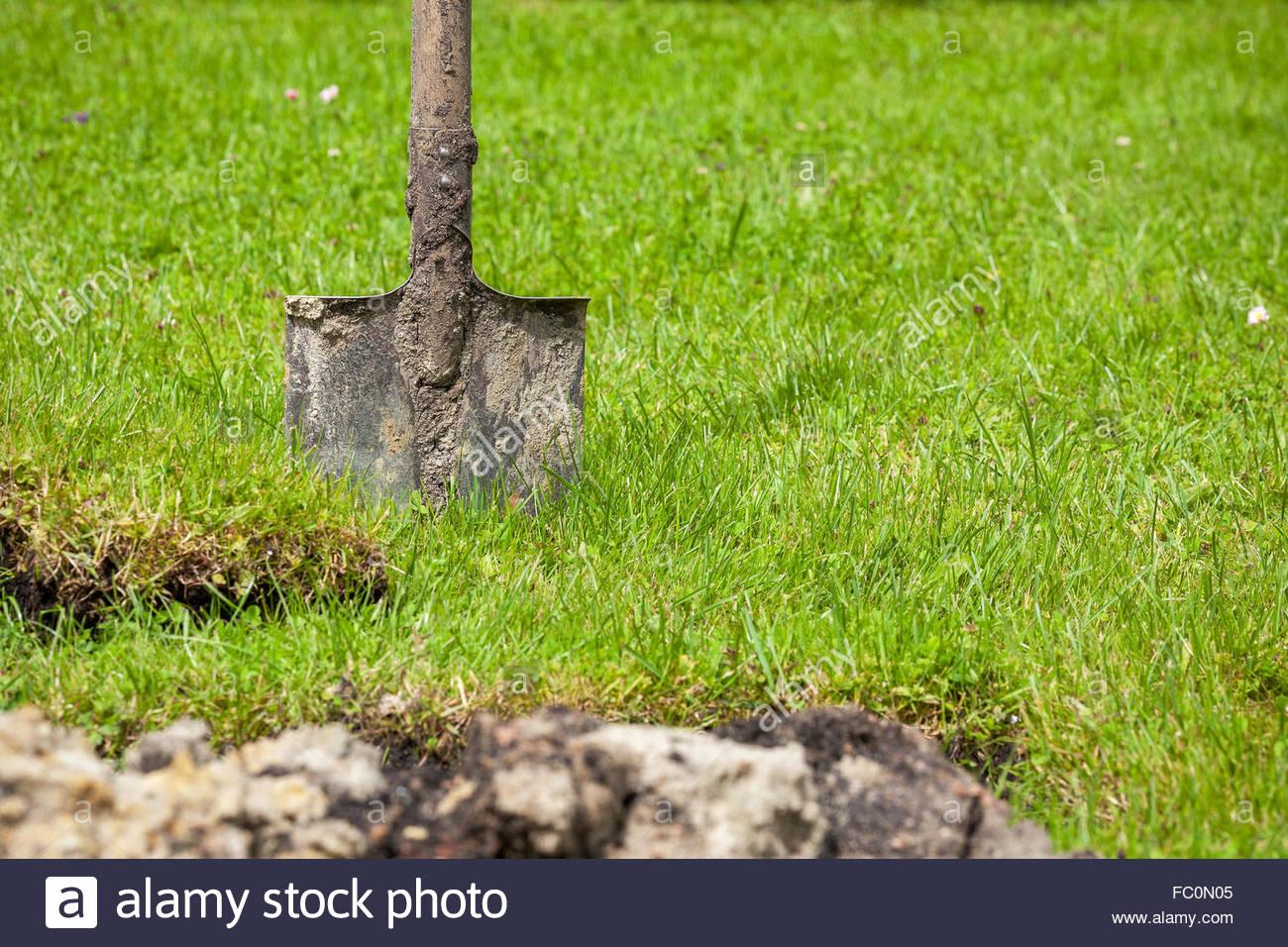 Spade in garden - Stock Image