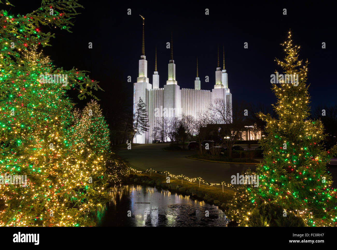 mormon temple in washington dc with xmas lights stock image - Christmas Lights In Dc