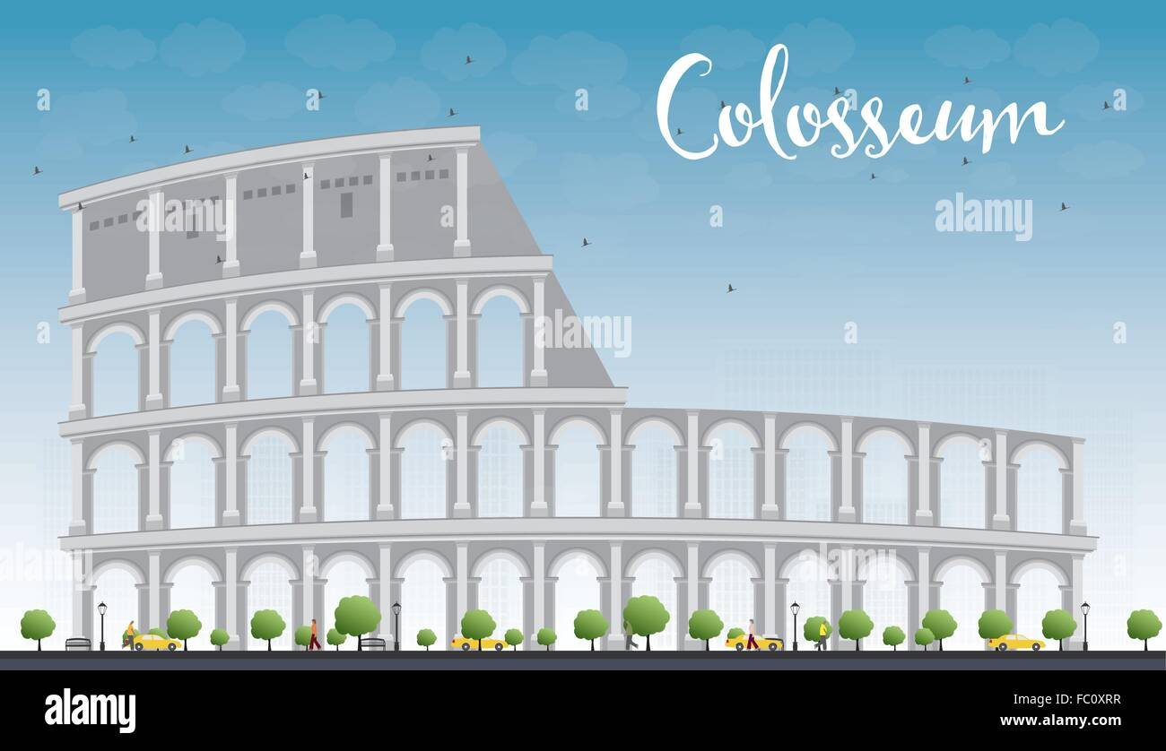 Colosseum In Rome With Blue Sky Italy Vector Illustration