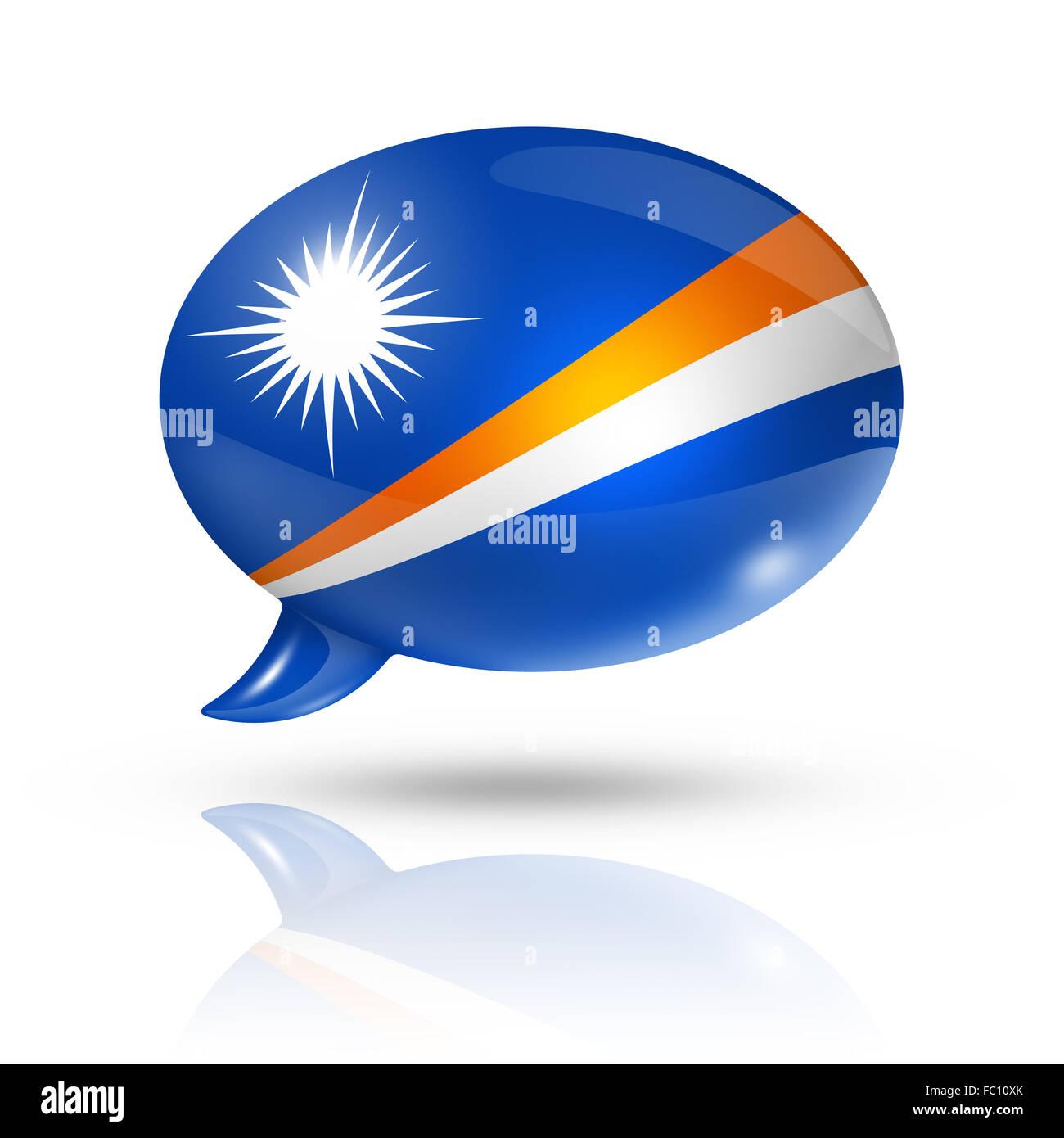 Marshall Islands flag speech bubble - Stock Image