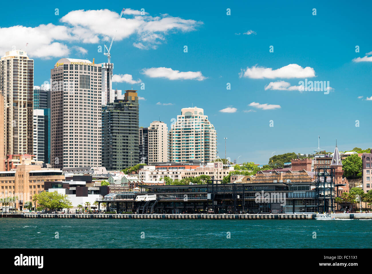 Sydney, Australia - November 09, 2015: Overseas Passenger Terminal view from a ferry towards the Circular Quay on - Stock Image
