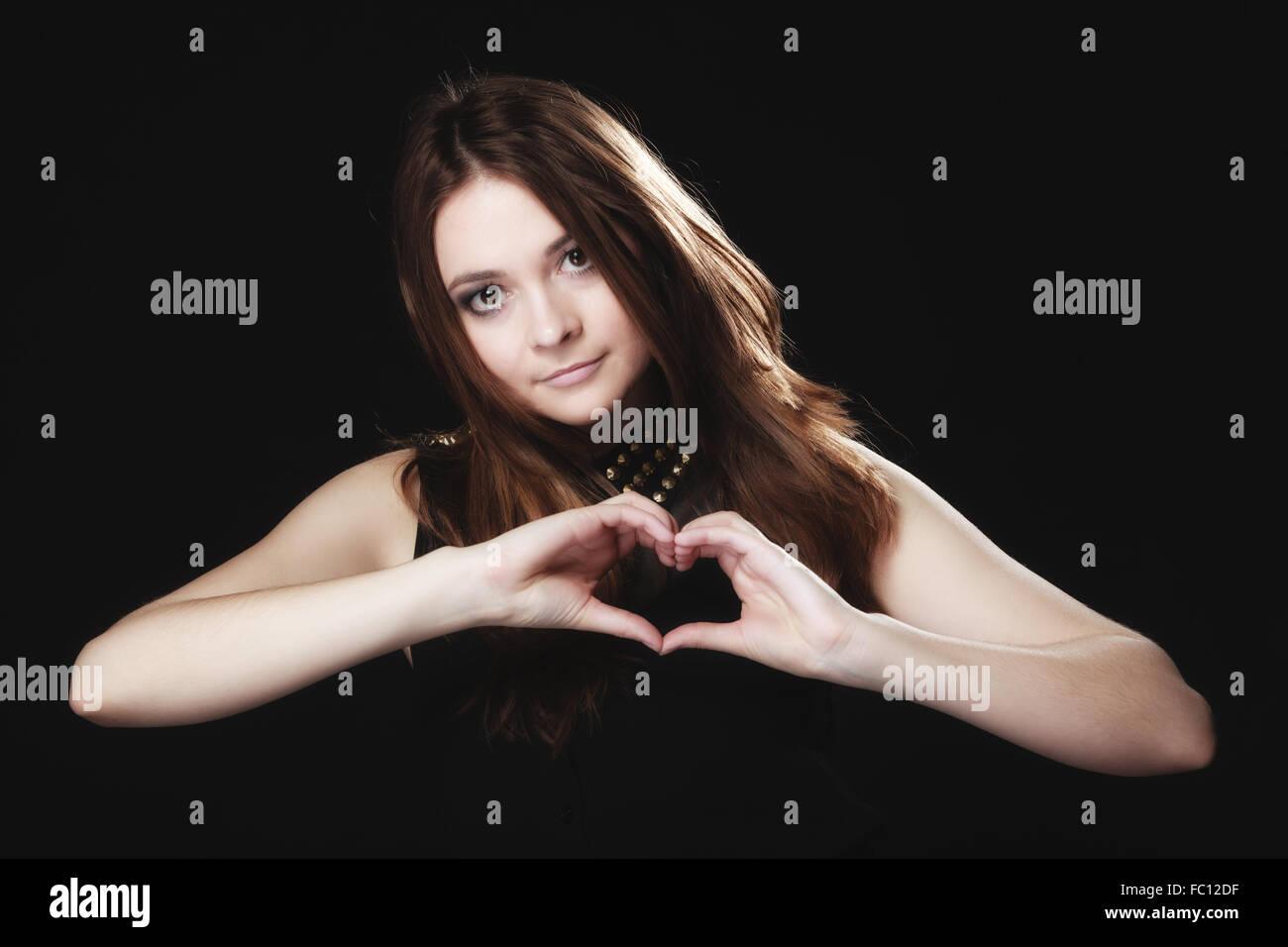 Teen Girl Doing Heart Shape Stock Photos Teen Girl Doing Heart