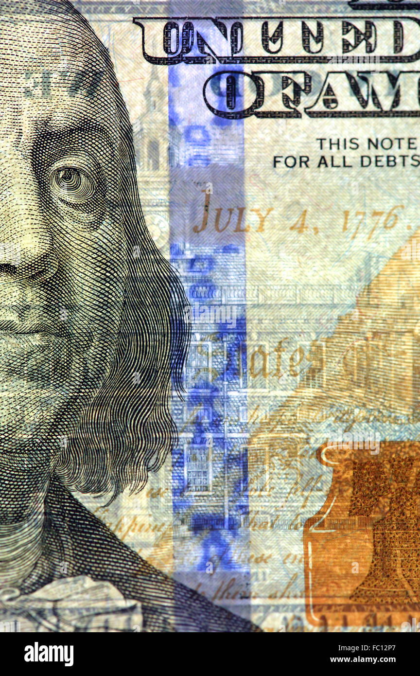 Watermark on new hundred dollar bill - Stock Image