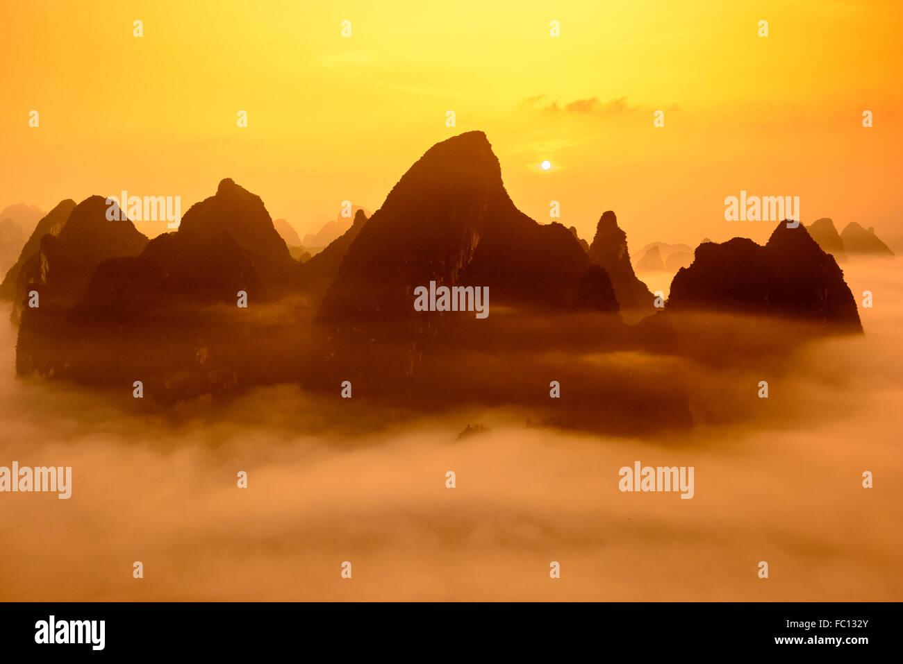 Guilin, China Karst mountains. - Stock Image