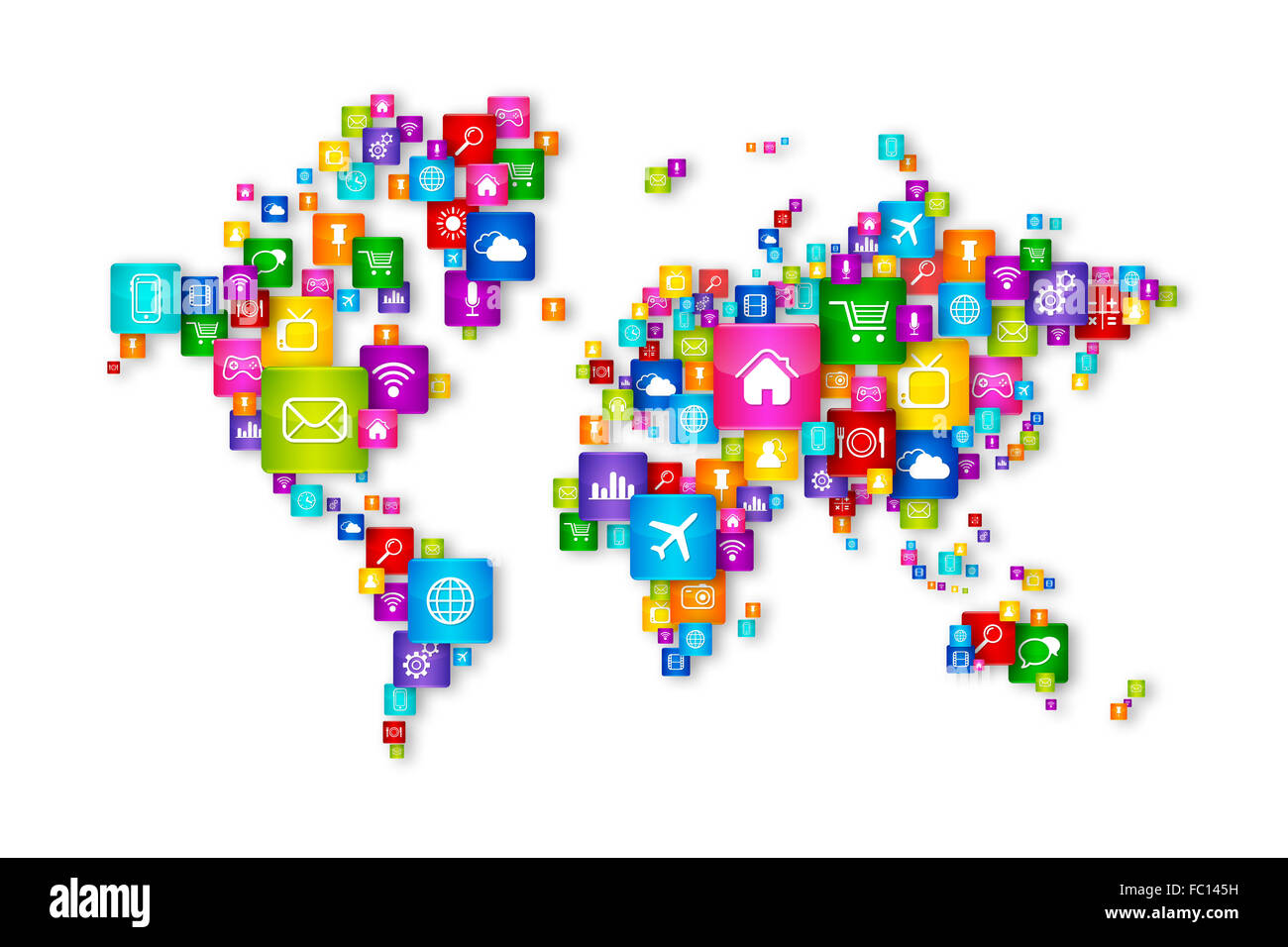 World Map Flying Desktop Icons Collection Stock Photo 93452957 Alamy