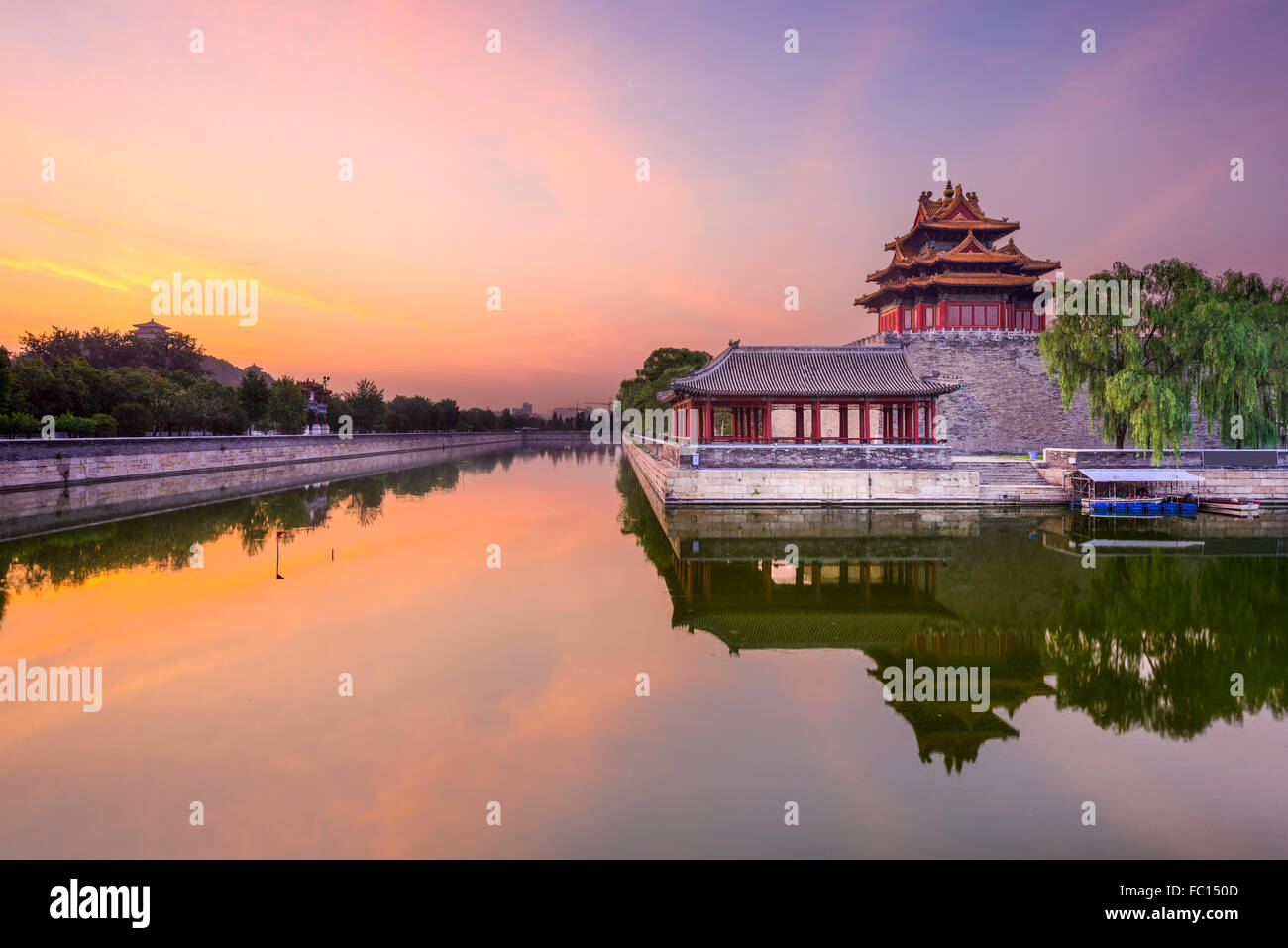 Beijing, China forbidden city outer moat at dawn. Stock Photo