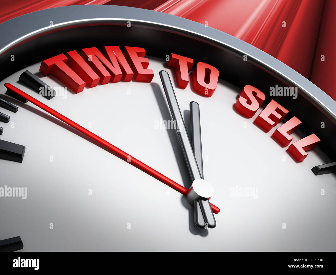 Time to sell statement written on the clock against red background - Stock Image