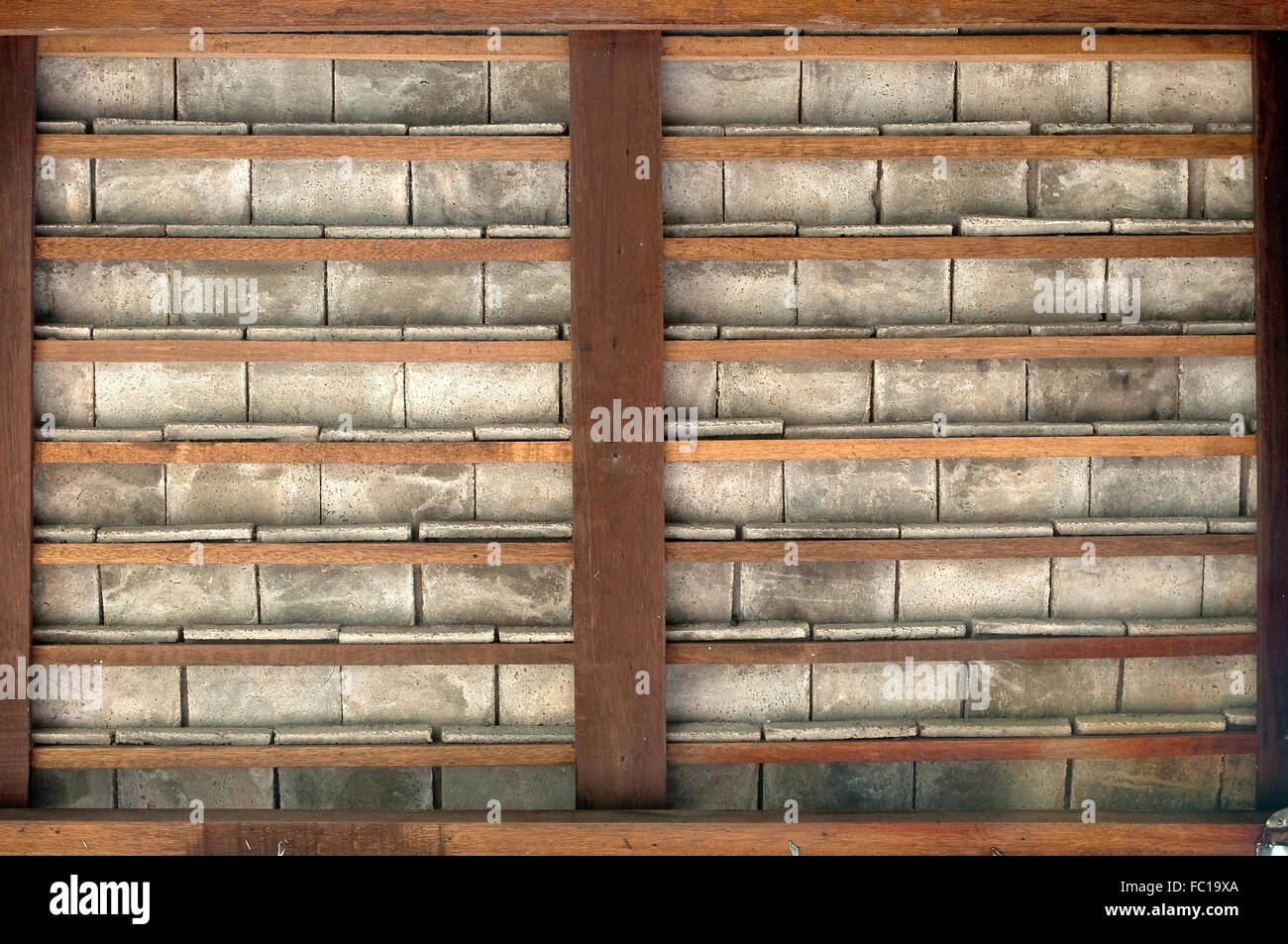 Wood frame and cement tile background pattern - Stock Image
