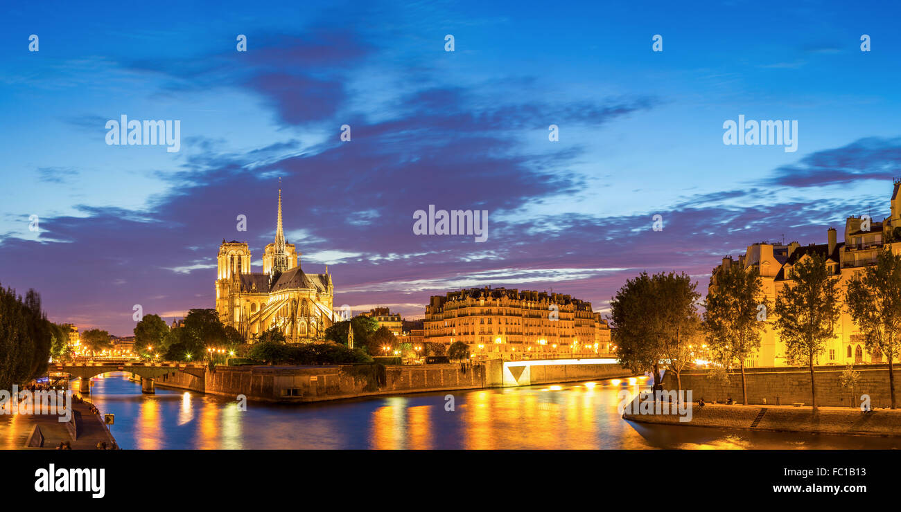Paris Notre Dame Panorama - Stock Image