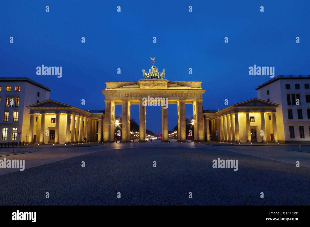 brandenburg gate in berlin at blue our Stock Photo