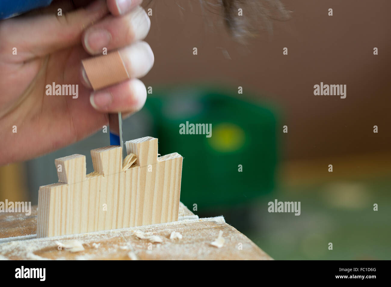 Carpenters construct a timber joint - Stock Image