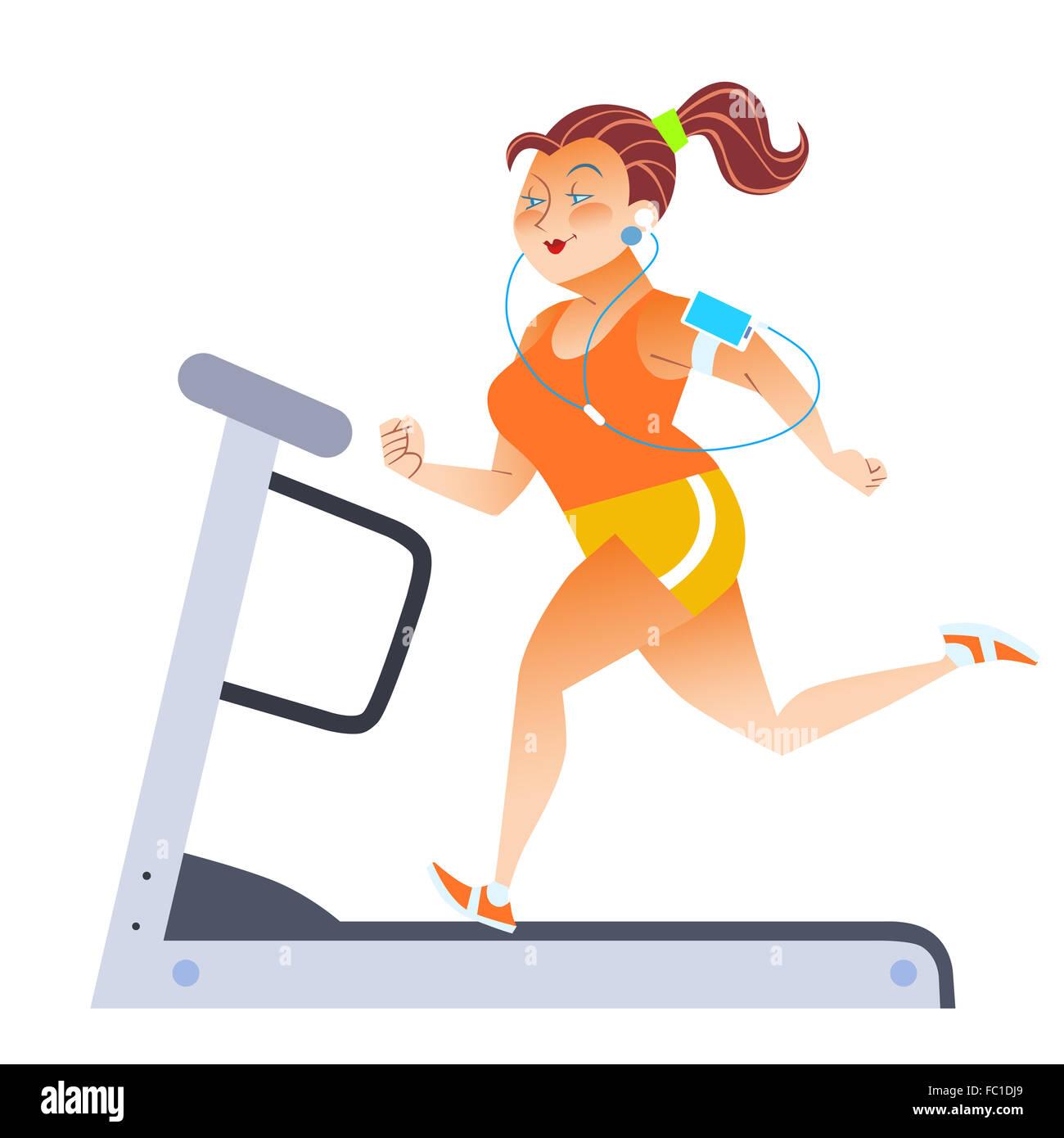 Fat woman on sport stationary treadmill - Stock Image