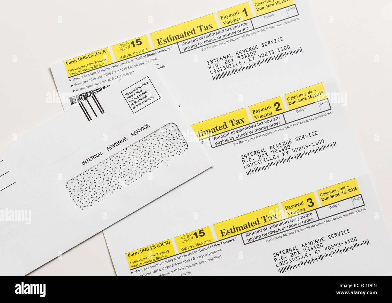 Us Irs Tax Form 1040 Es Stock Photo 93460409 Alamy