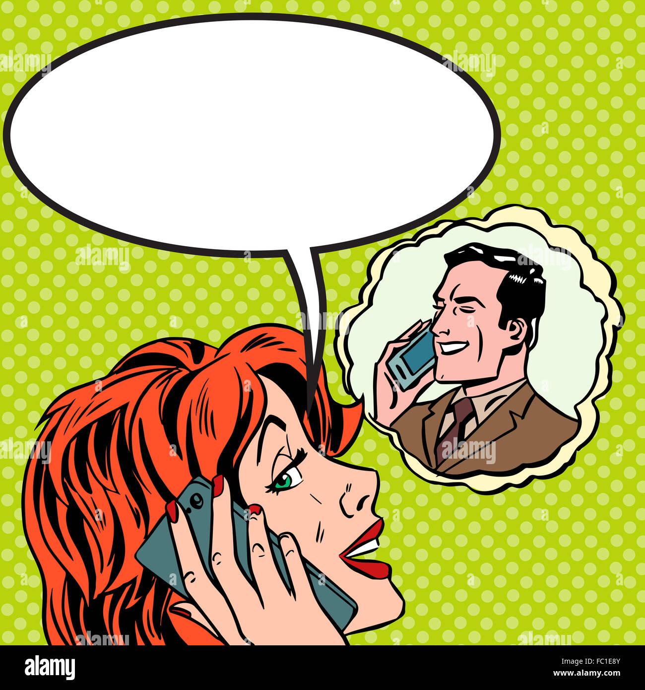 Woman man phone talk Pop art vintage comic Stock Photo