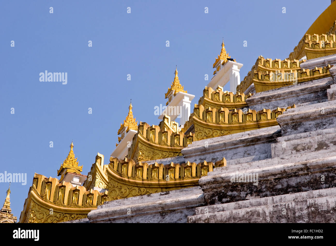 The ornate edge of Mahazedi Paya, Bago, Myanmar - Stock Image