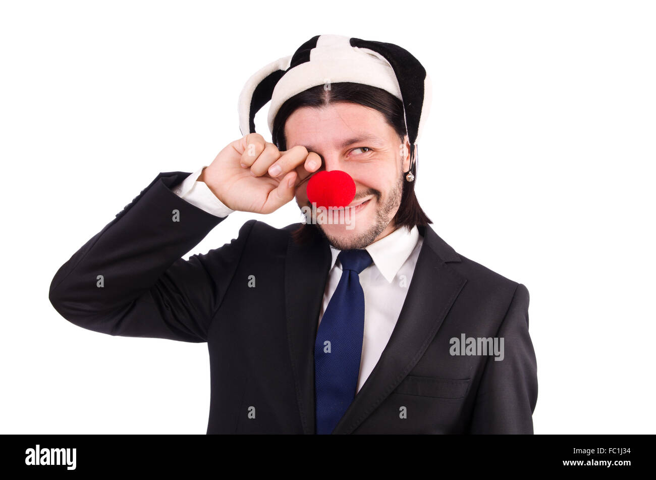 Funny clown businessman isolated on the white background - Stock Image