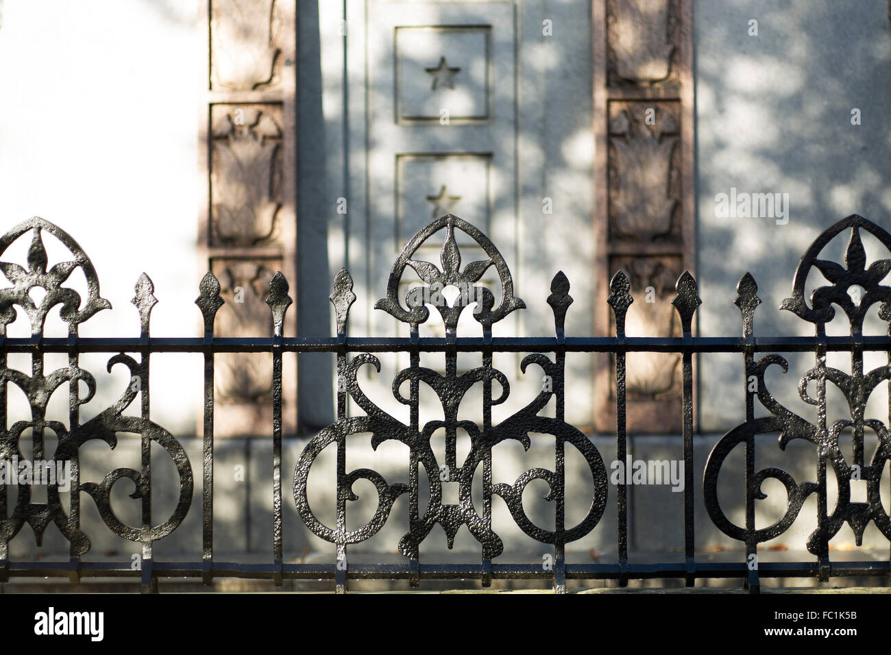 Detail view of Cast Iron Railings. Kilmorey Mausoleum, Richmond, United Kingdom. Architect: Kaner Olette Architects, - Stock Image