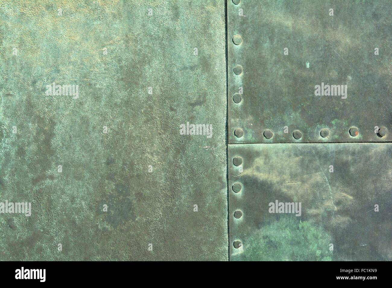 weathered copper sheet - Stock Image