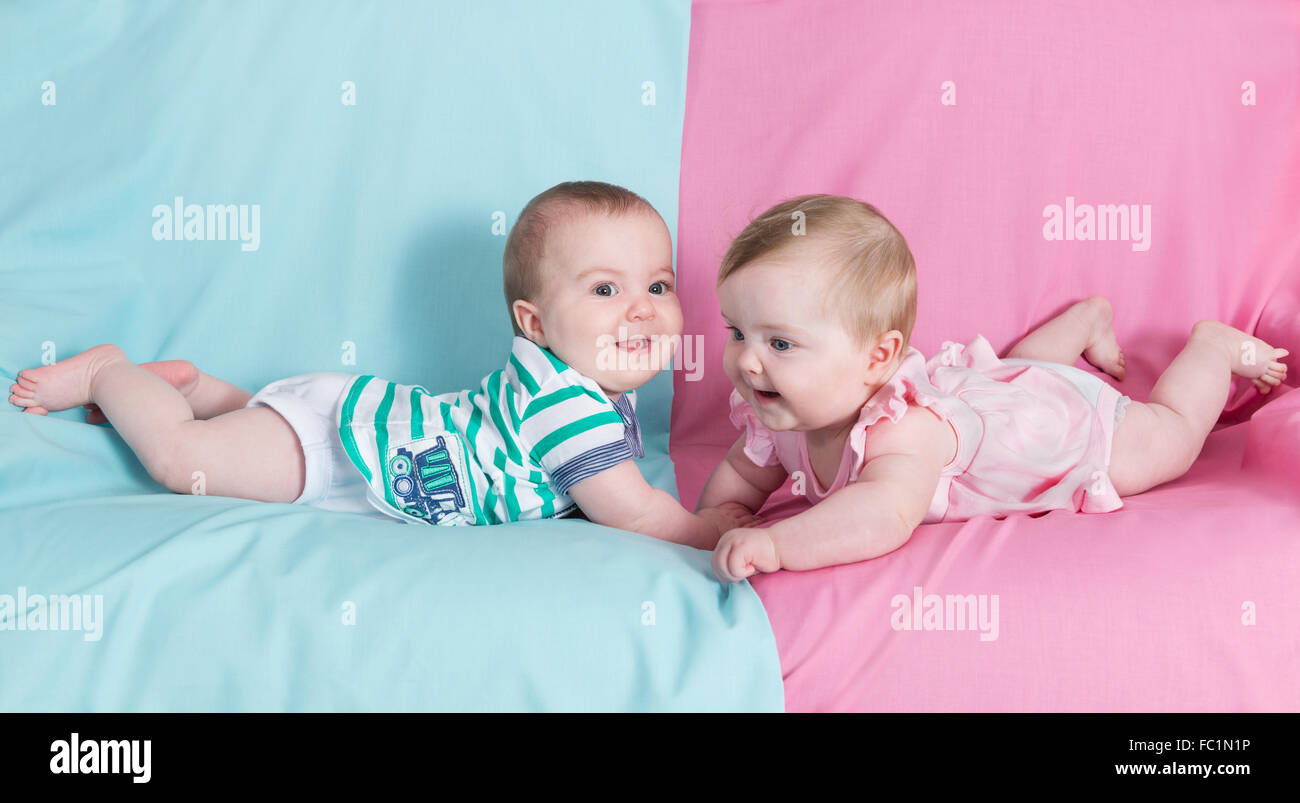 Baby girl and boy twins