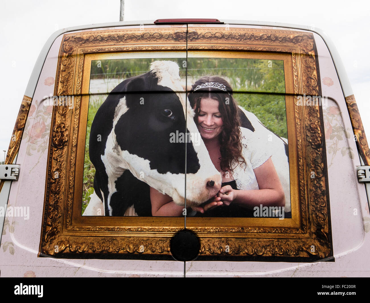 Rear of white van delivering organic milk to a customer showing painting illustrating provenance - Stock Image