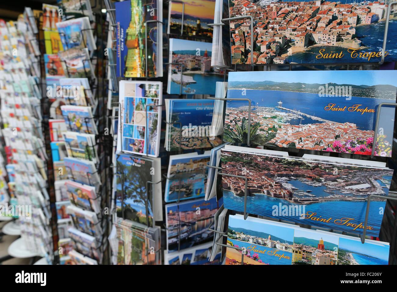 Saint Tropez, postcards. - Stock Image