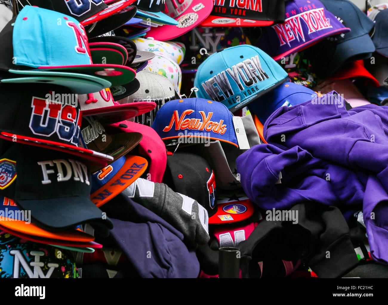 Baseball caps in NY - Stock Image