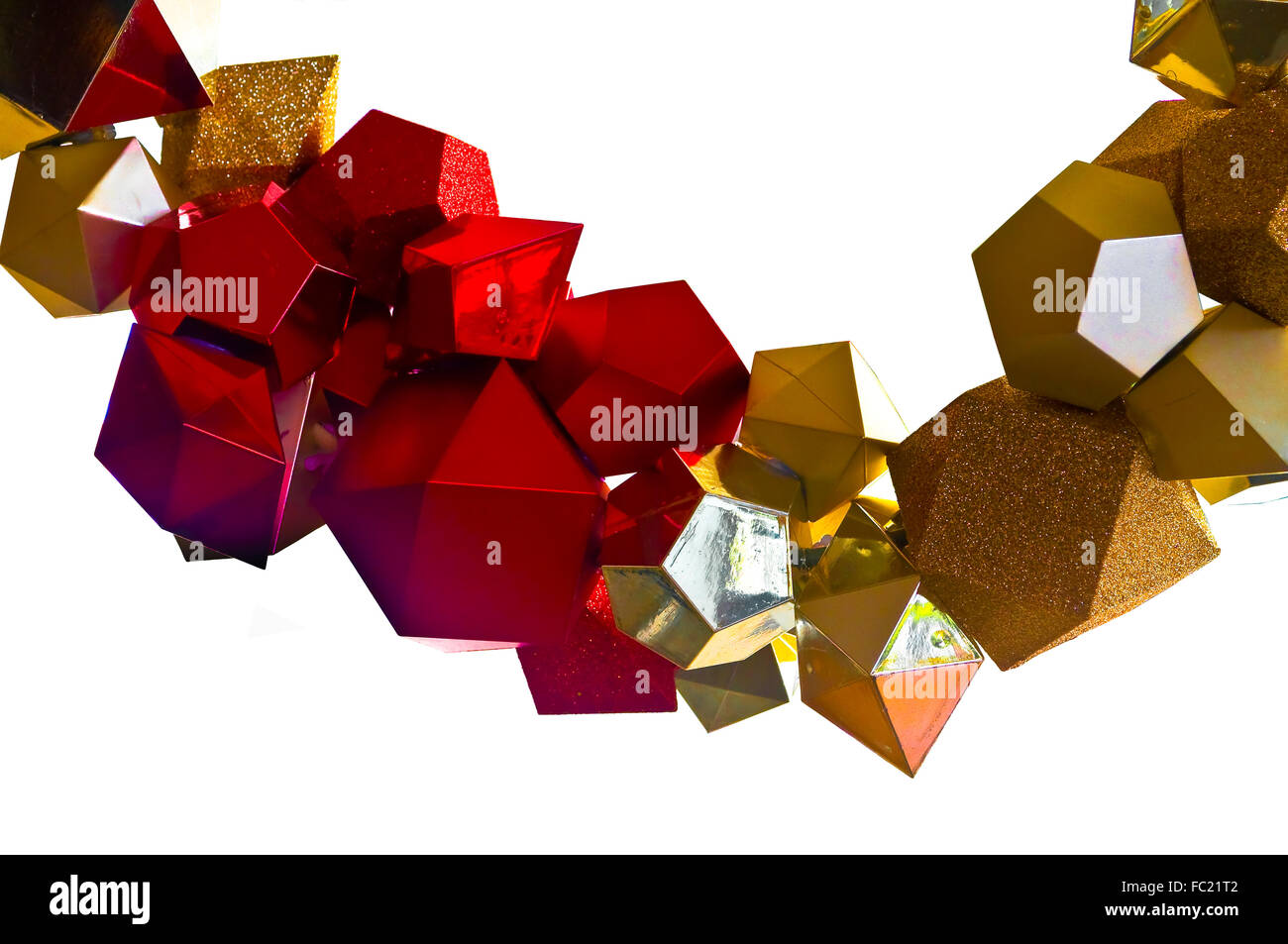 Red, Silver and Gold polyhedron garland for christmas. Detail closeup. - Stock Image