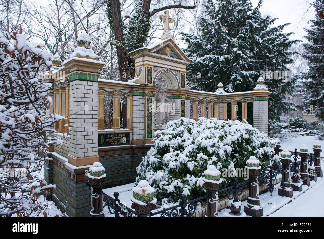 Dorotheenstadt cemetery Berlin,grave of Eduard Friedrich Hoffmann, Germany - Stock Image