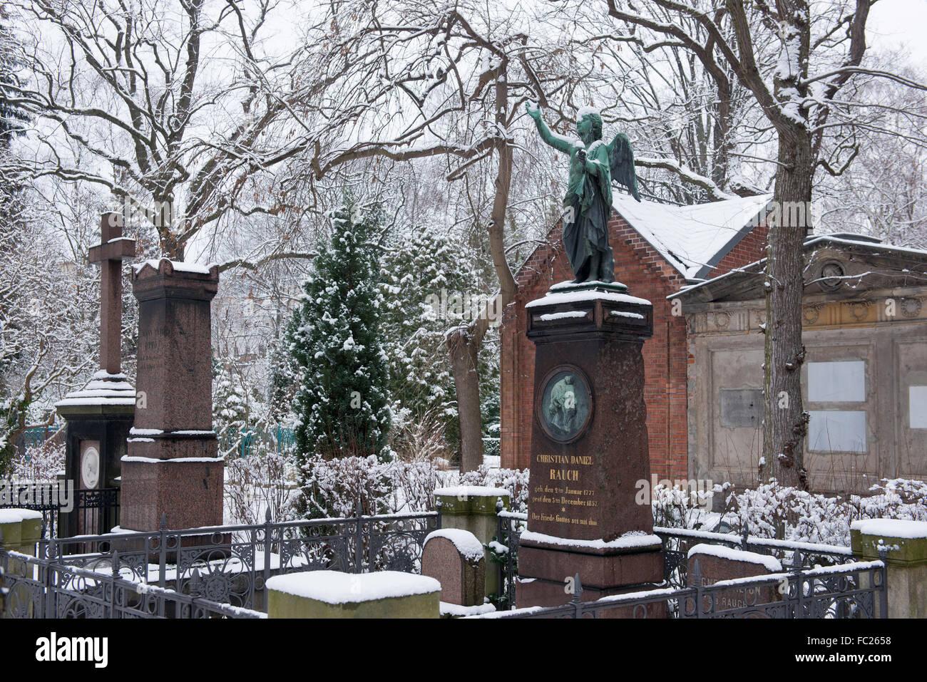 Dorotheenstadt cemetery Berlin, grave of Daniel Rauch, Germany - Stock Image