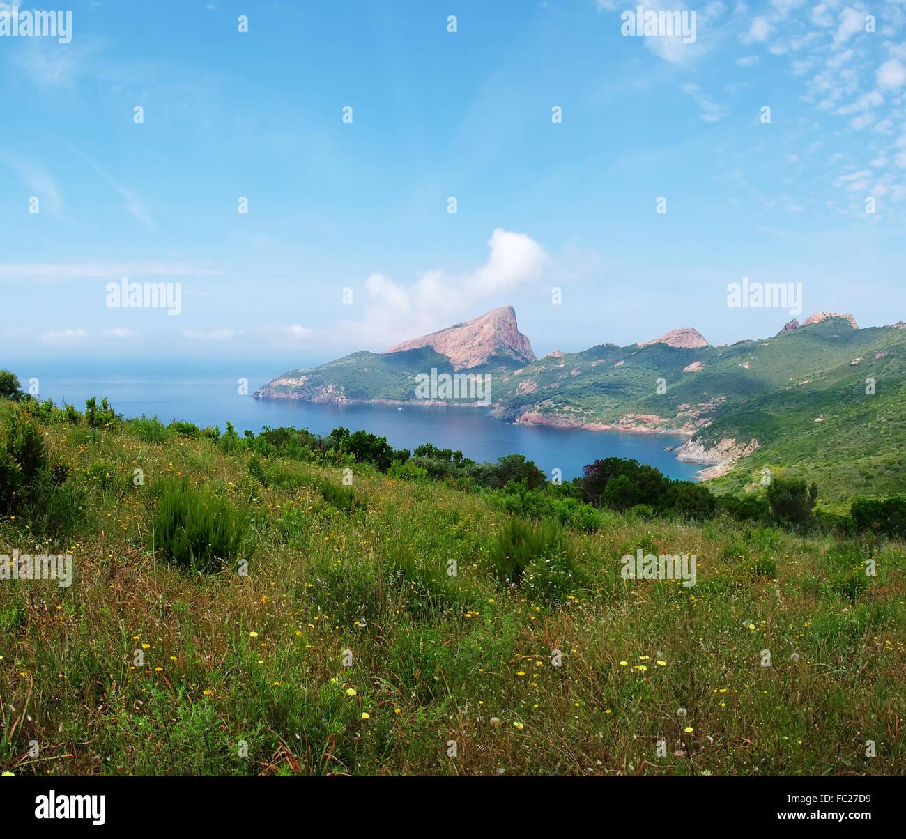 Panorama from Capu Rossu - Corsica - Stock Image