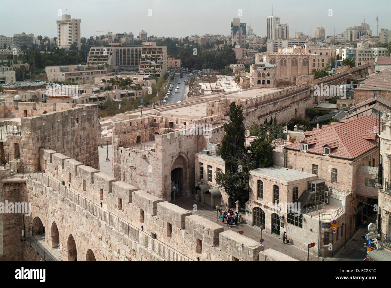 Jaffa Gate and city wall, Tower of David, Old City ...