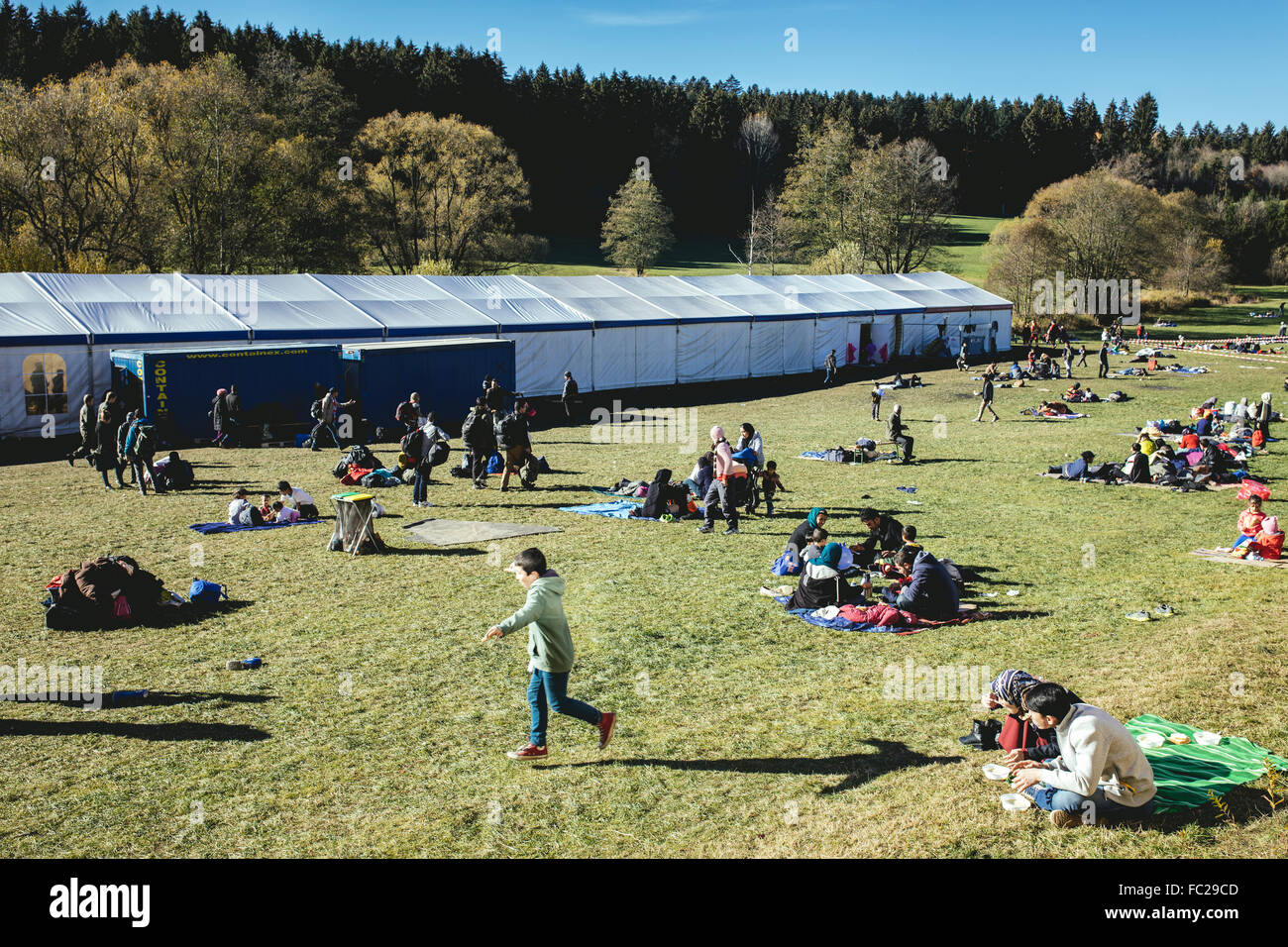 Refugee camp, first reception facility on the border with Austria, Wegscheid, Bavaria, Germany - Stock Image