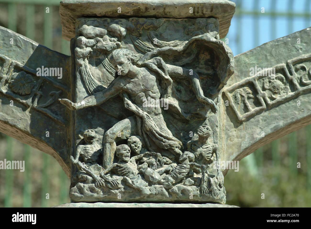 Resurrection of the prophet Ezekiel, relief on the Knesset Menorah, sculptor Benno Elkan, Jerusalem, Israel - Stock Image
