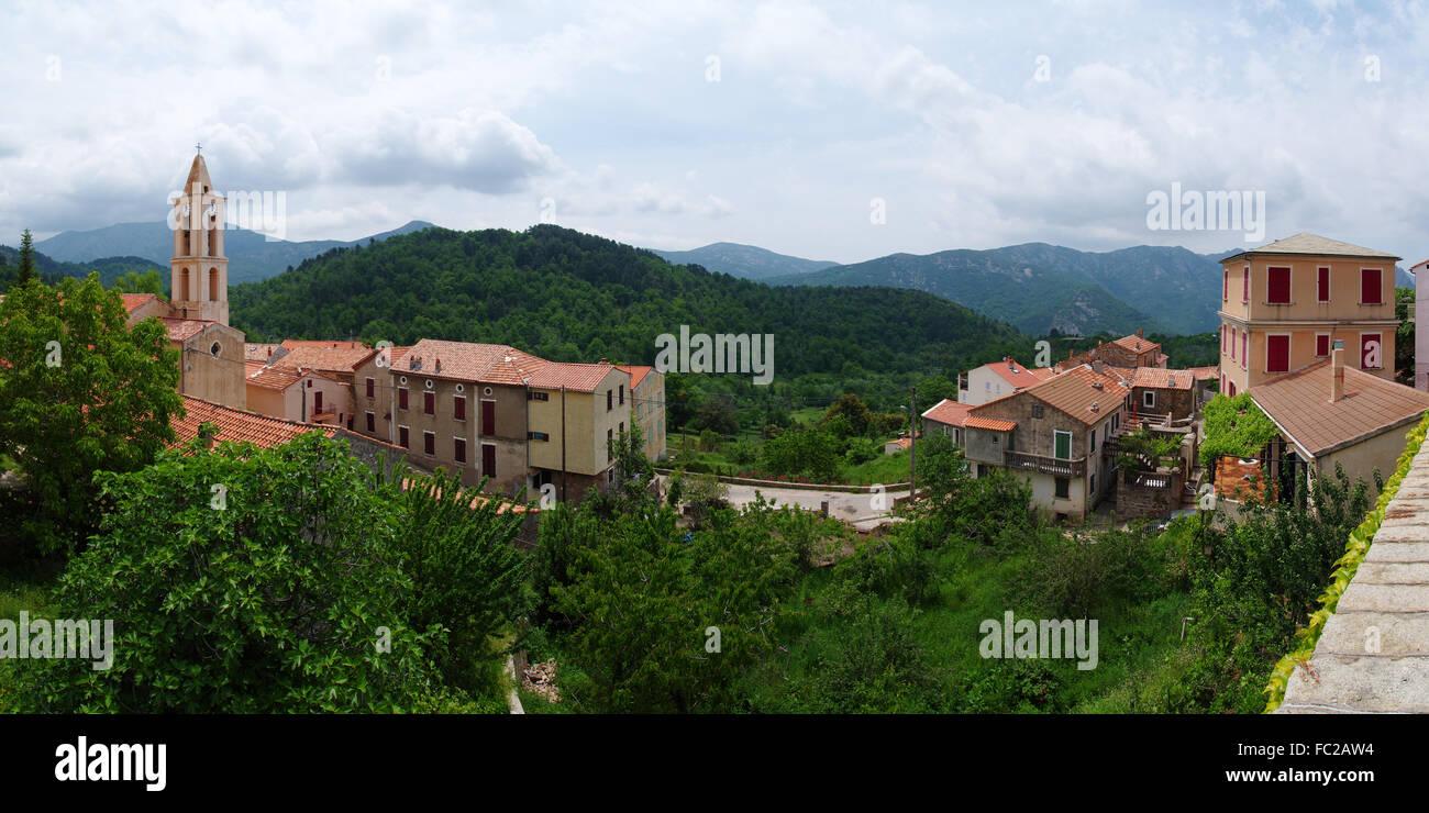 Mountain village Evisa - Corsica Stock Photo