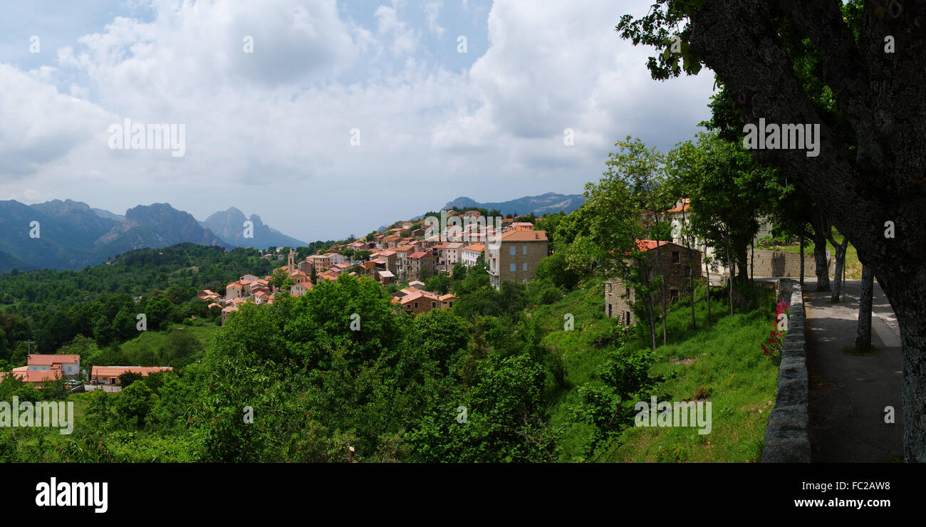 Mountain village Evisa - Corsica - Stock Image