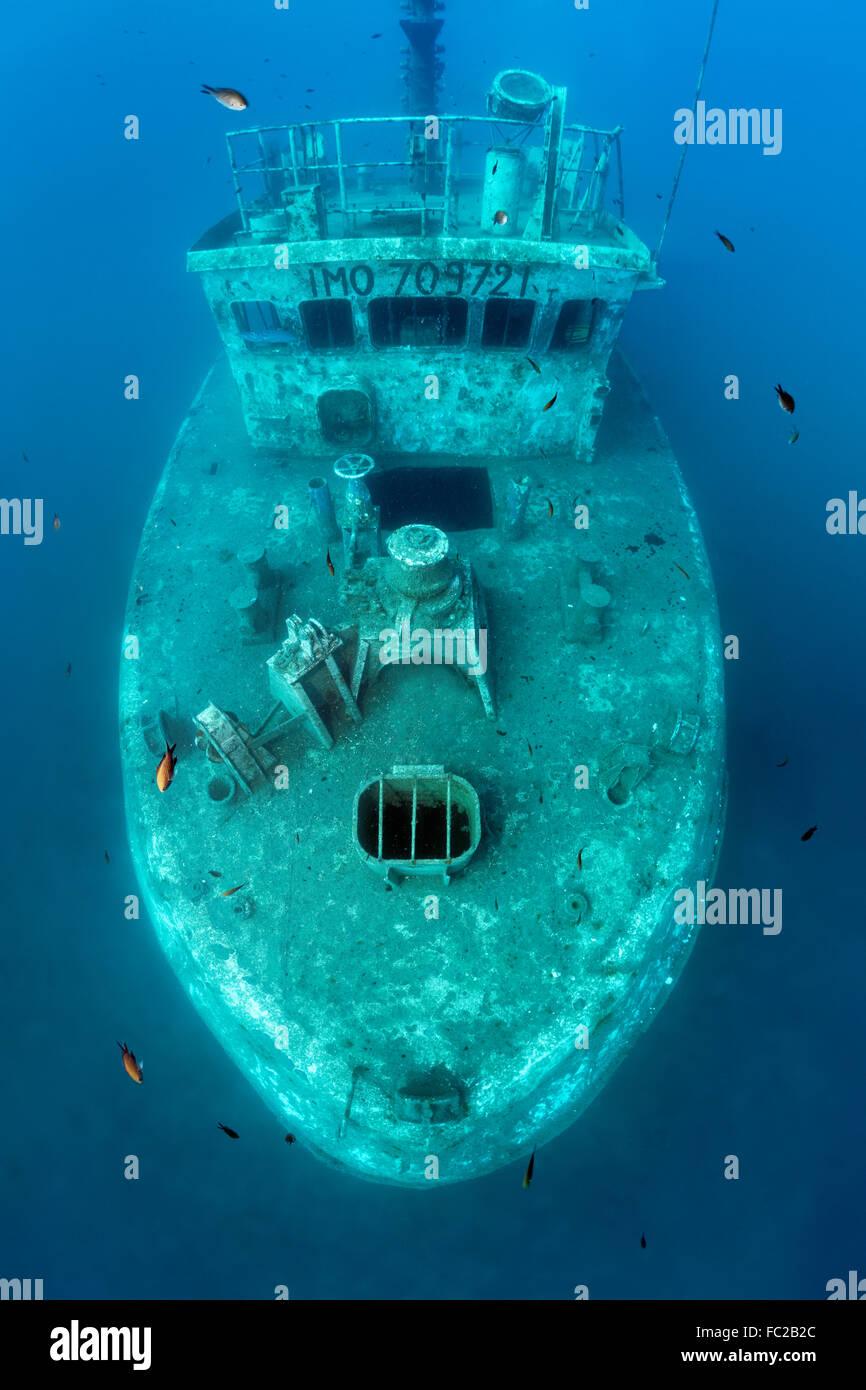 Shipwreck Constandis, sunk for divers, underwater reserve Dasoudi, Limassol, Mediterranean, Cyprus - Stock Image