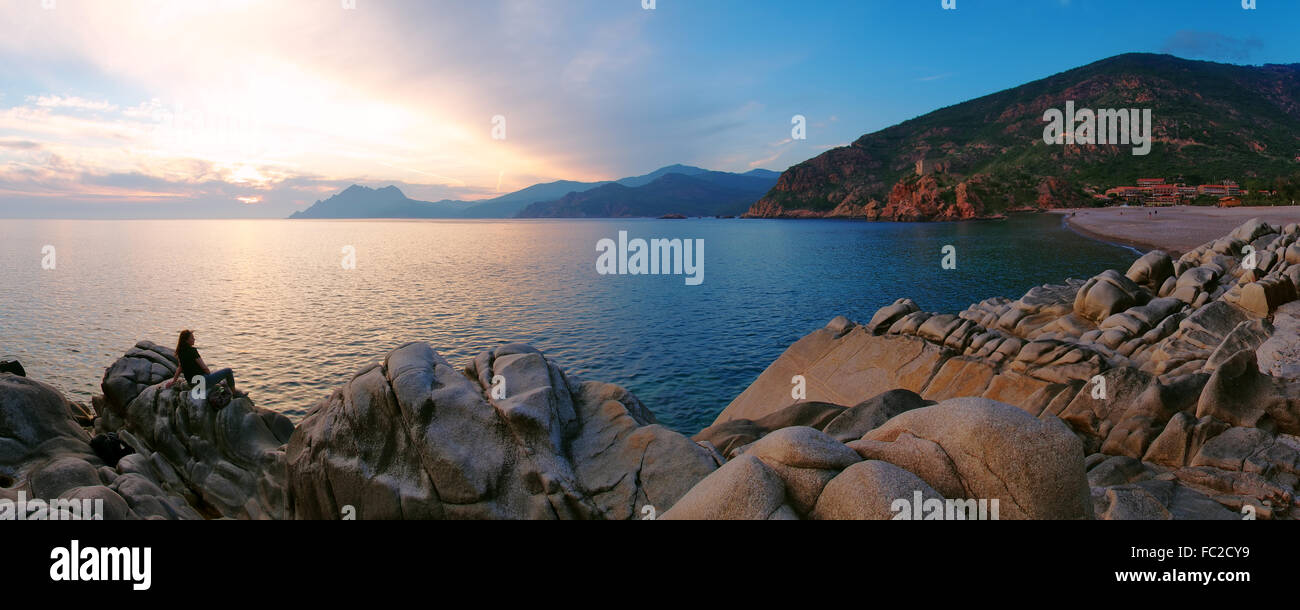 Sunset on the beach of Porto - Corsica - Stock Image