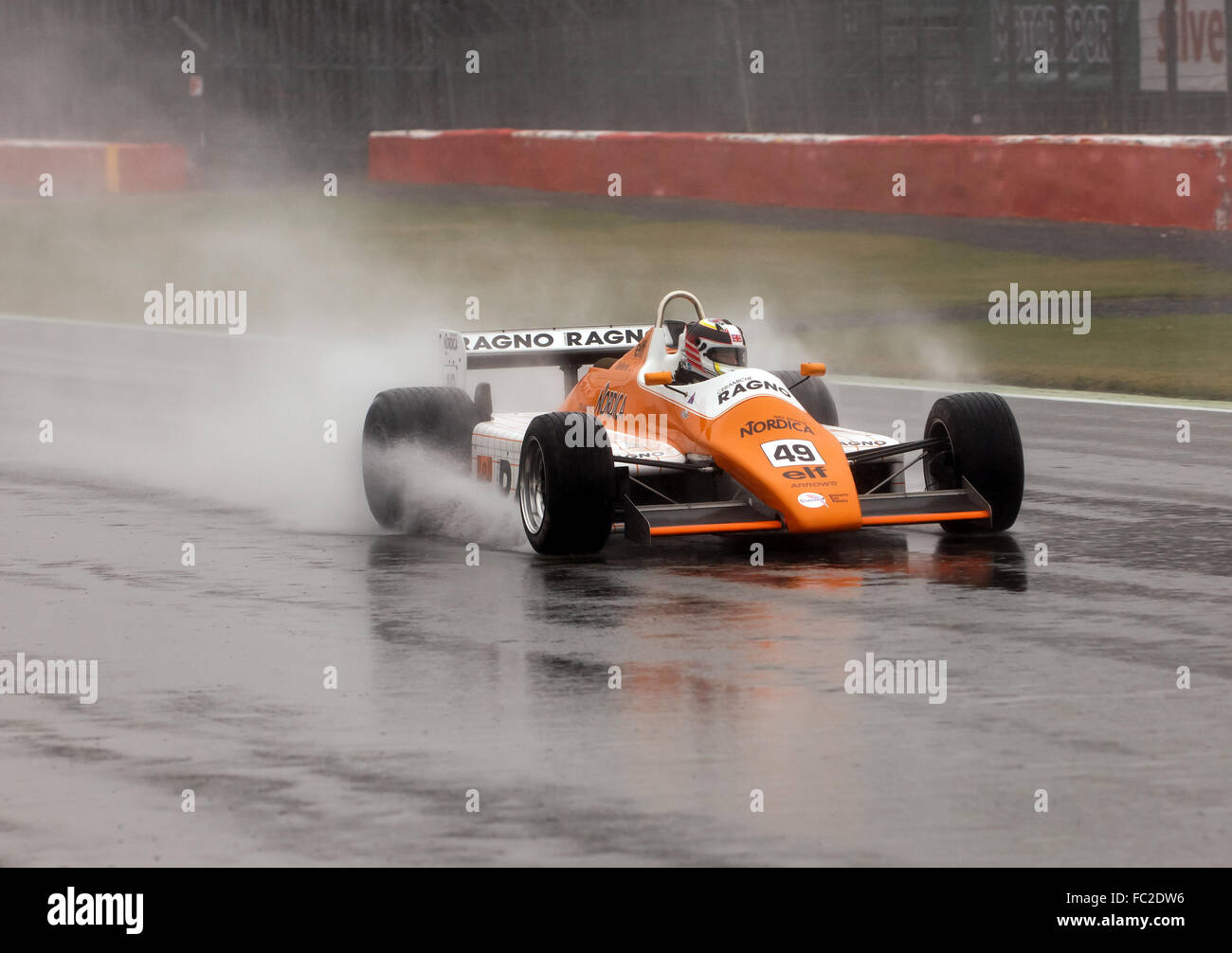 A 1982, Arrows A5 Formula 1 car, Qualifying in the rain, or the FIA Historic Formula One Race at the Silverstone - Stock Image