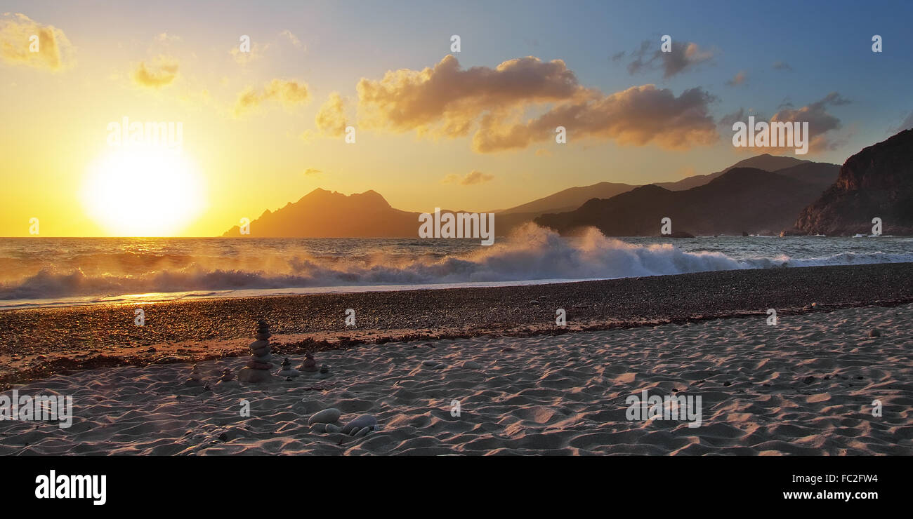 Sunset at the beach of Porto - Corsica Stock Photo