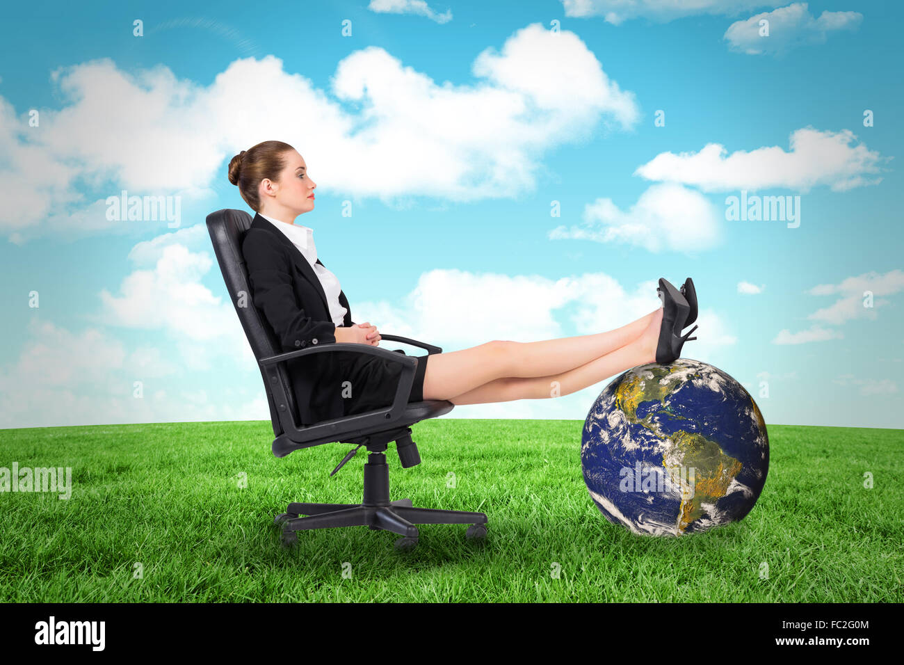 Excellent Composite Image Of Businesswoman Sitting On Swivel Chair Pdpeps Interior Chair Design Pdpepsorg