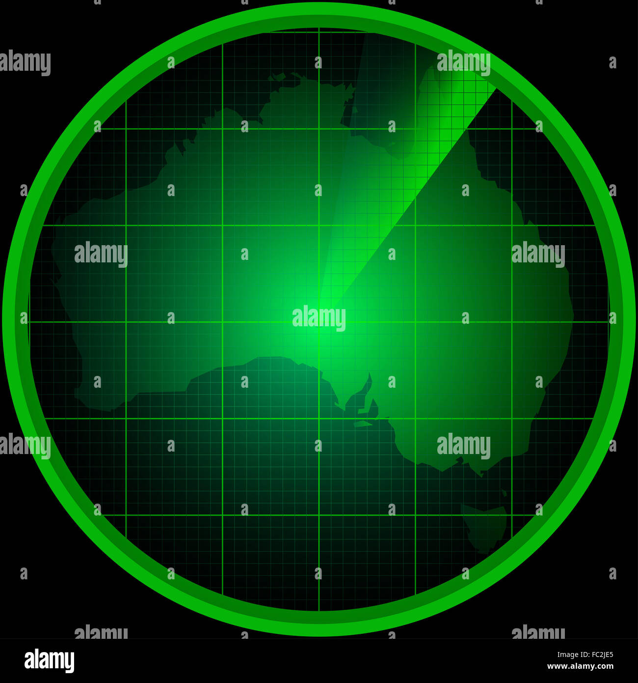 Radar screen with a silhouette of Australia - Stock Image