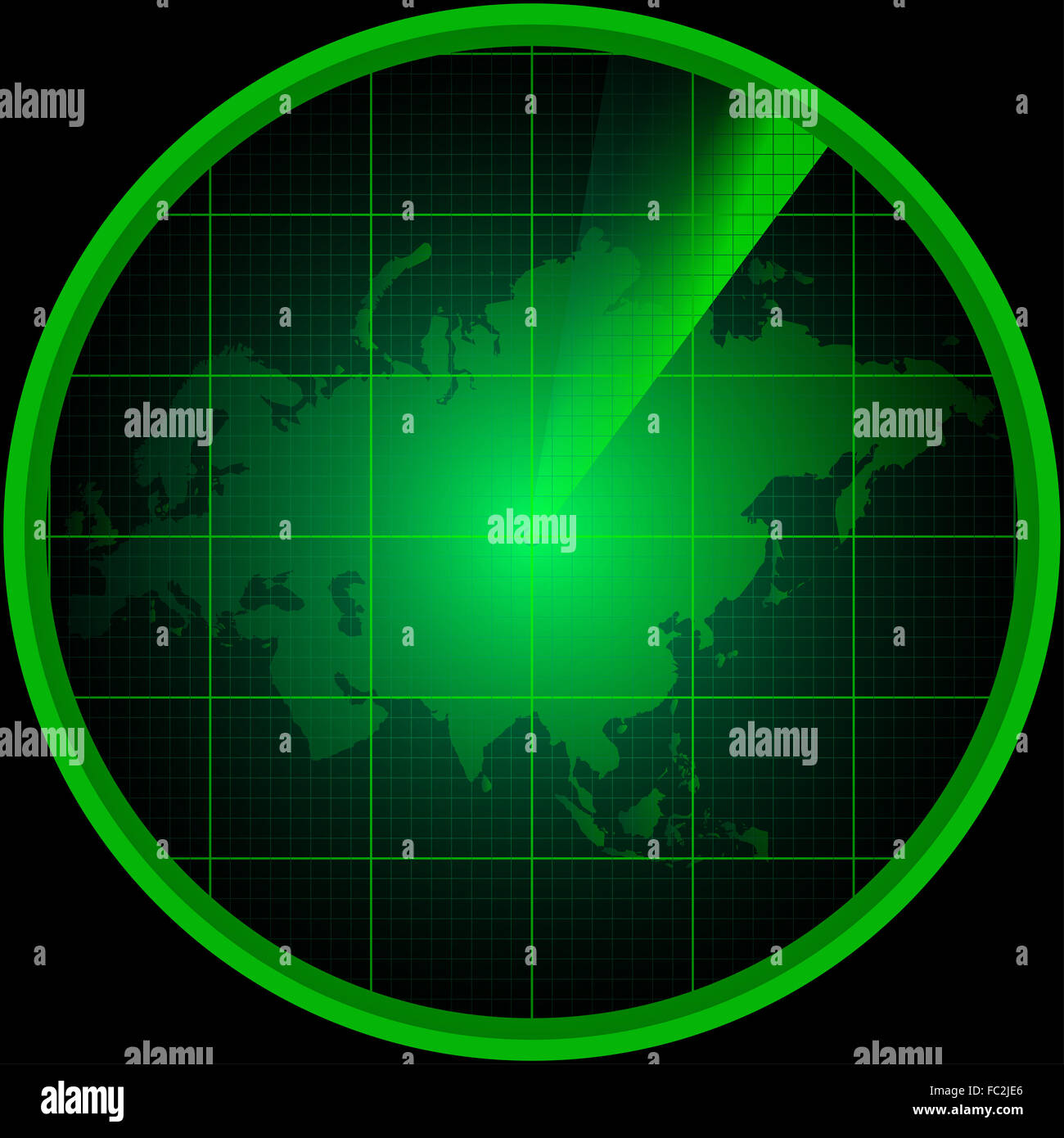 Radar screen with a silhouette of Eurasia - Stock Image
