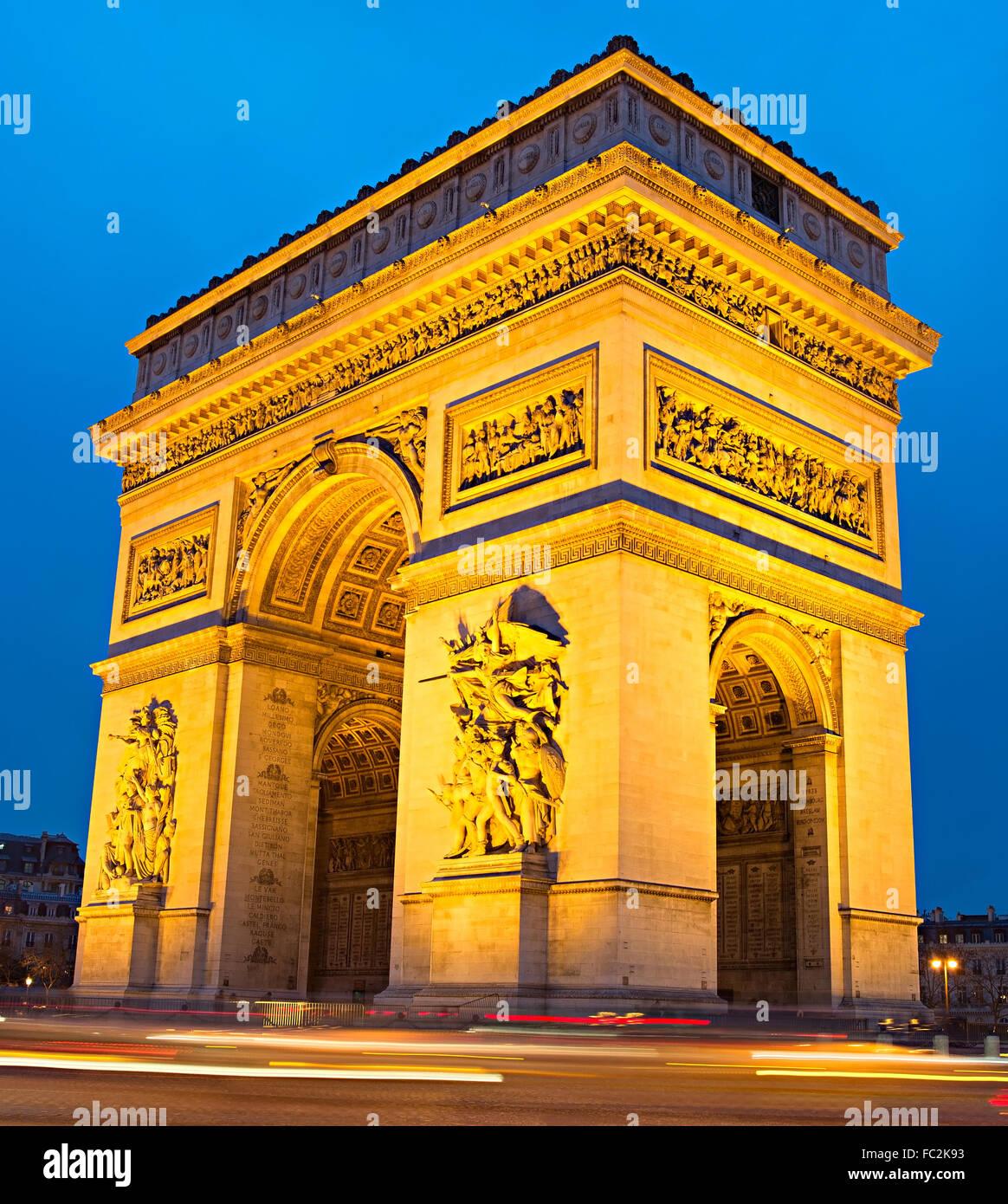 Triumphal Arch at dusk, Paris - Stock Image