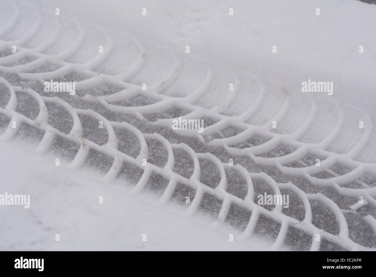 Tread in the snow - close-up - Stock Image