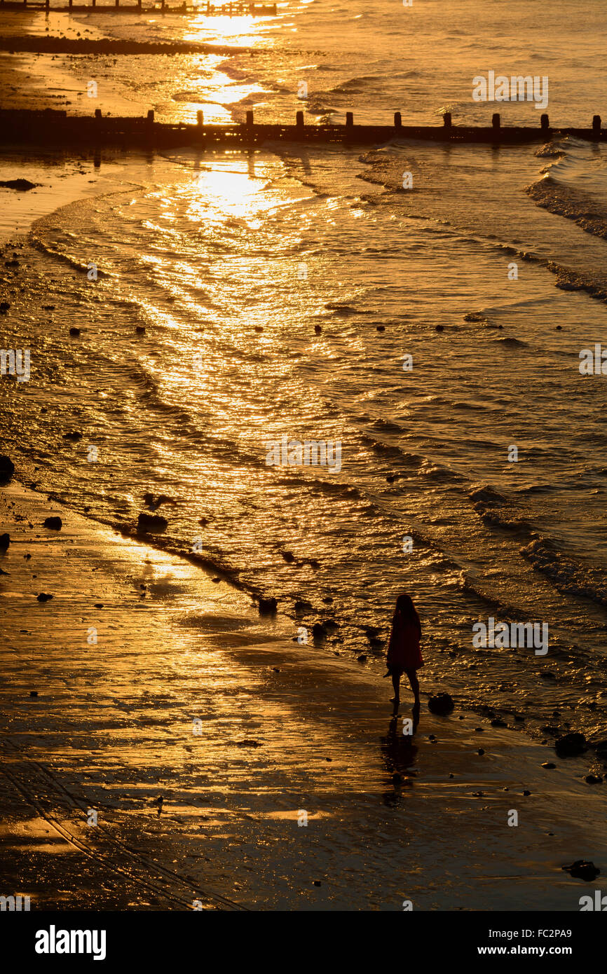Person walking along the beach  during sunset over Cromer  Norfolk England - Stock Image