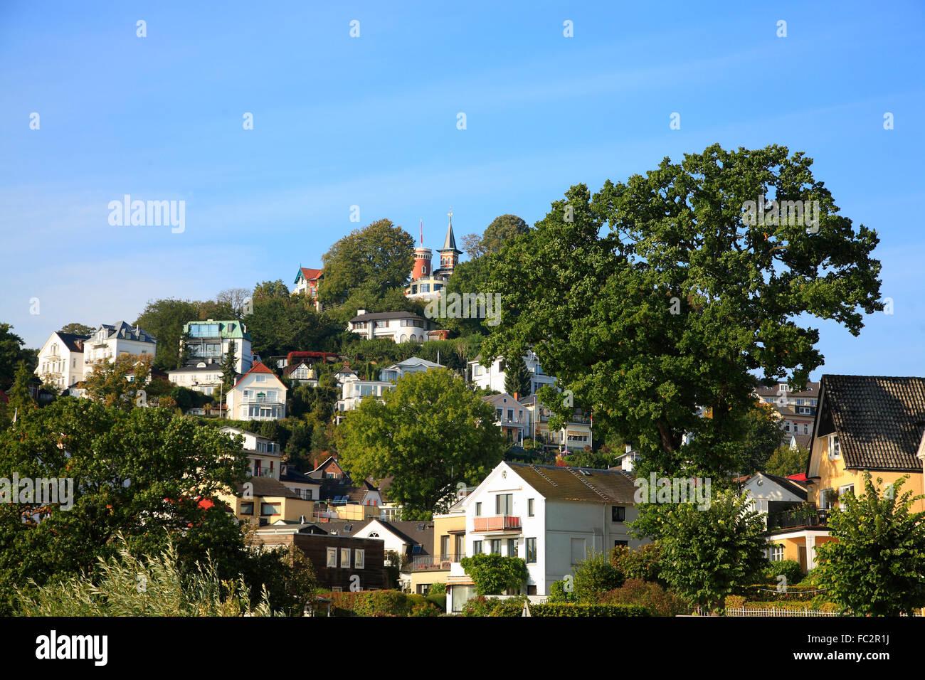 View to Suellberg, Blankenese, Hamburg, Germany, Europe - Stock Image