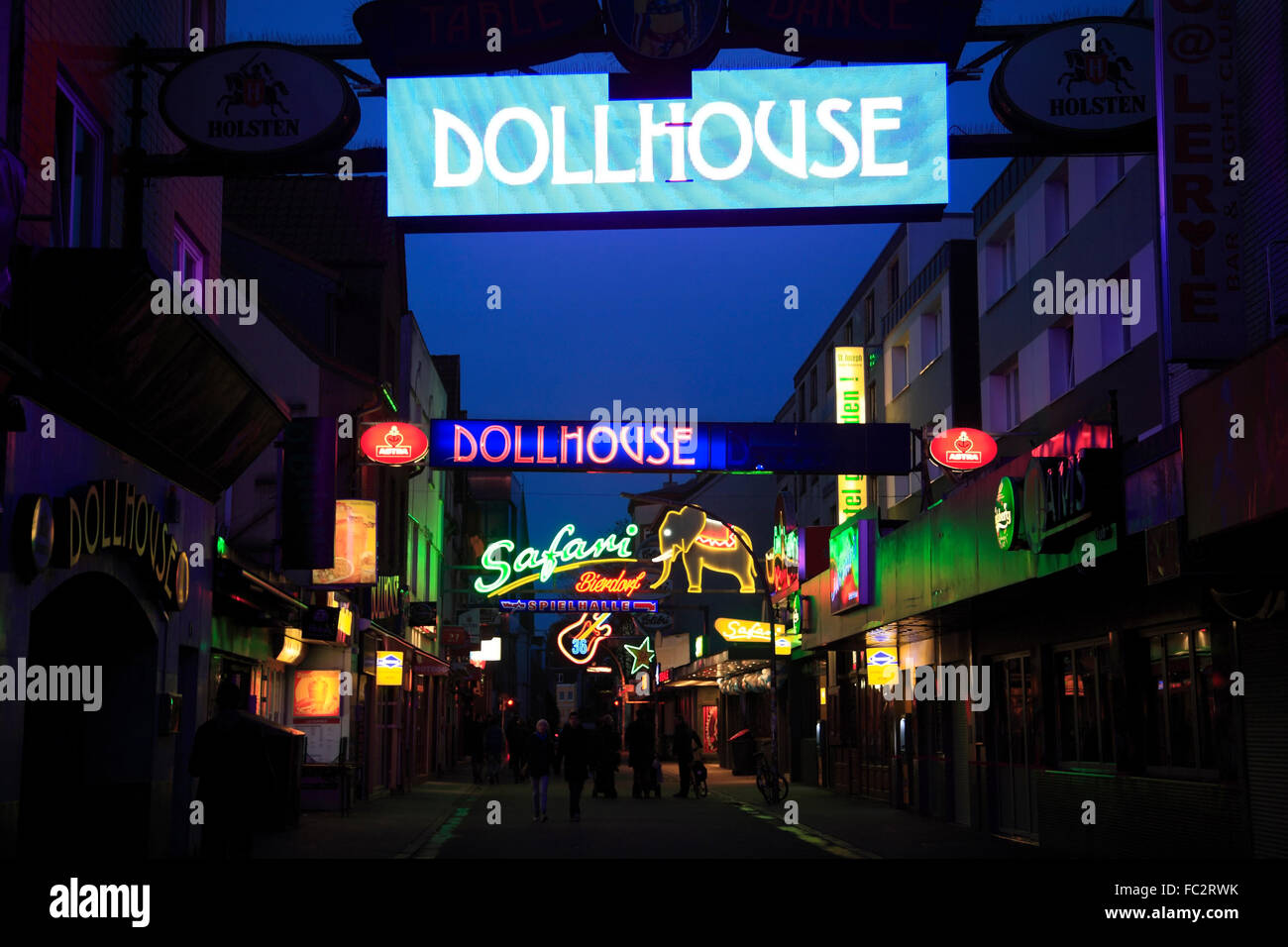 Redlight district St. Pauli, Grosse Freiheit near Reeperbahn, Hamburg, Germany, Europe - Stock Image