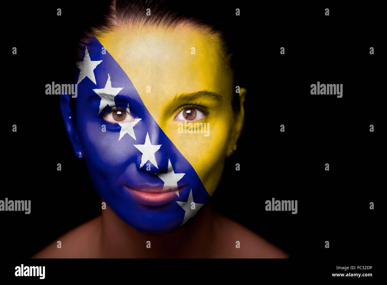 woman with the flag of the Bosnia and Herzegovina - Stock Image