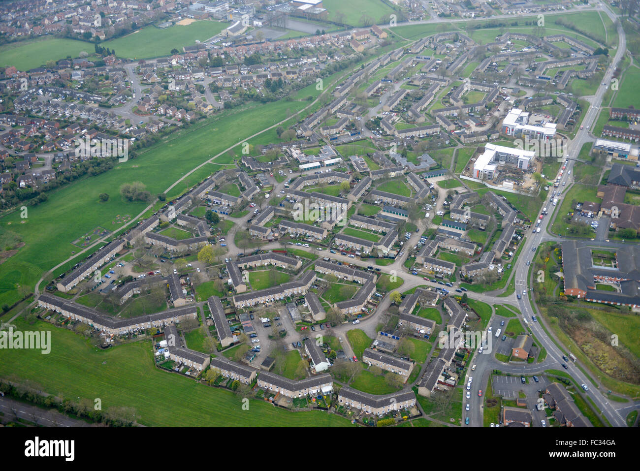 Views of the area around Kiln Way and Minerva Way in Kettering, Northamptonshire - Stock Image