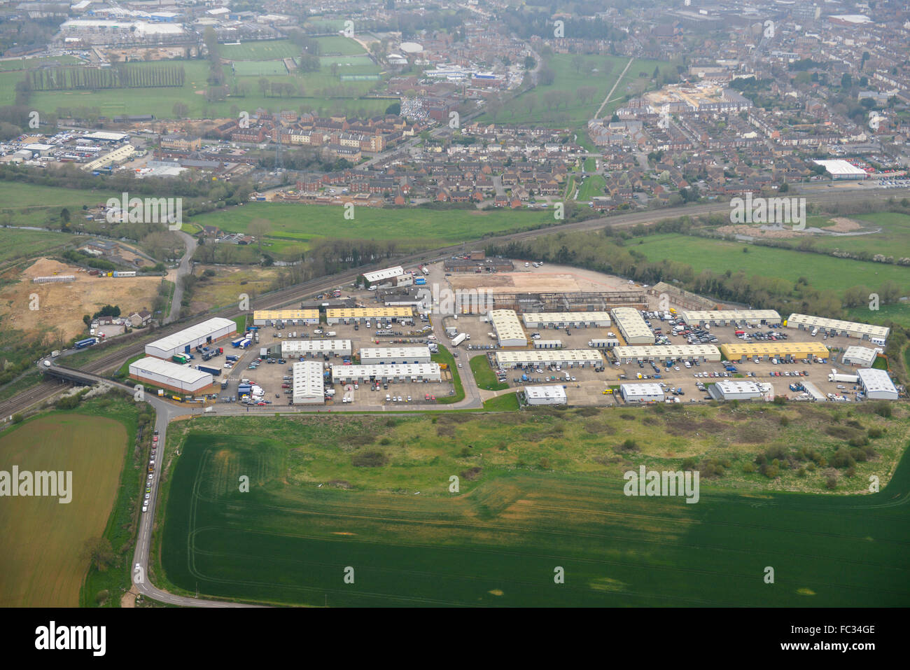 An aerial view of the Leyland trading estate in Wellingborough, Northamptonshire - Stock Image